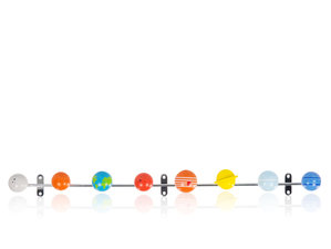 Solid metal coat rack with colourful wooden planets that is mountable to wall by screws