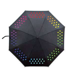 Clever umbrella changes colour when in rains. Showing the colourful pattern revealed when it rains.
