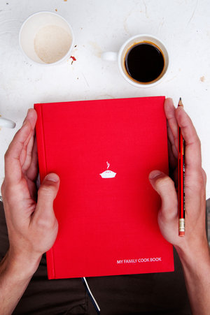 Customisable cook book with blank sections for your recipes. Red book-cloth cover.