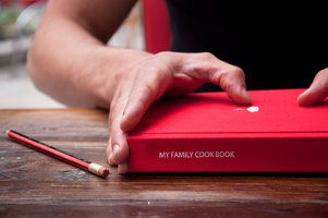 hardback red notebook for recipes.