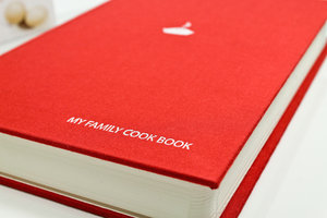 Blank Red Cook Book. Very Thick. hardback Cover. Cloth bound in red.