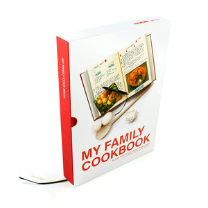 Red My Family Cookbook. Packaged in tough slip case.