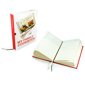 My Family Cookbook. Red hardback book with slip case. Open pages.
