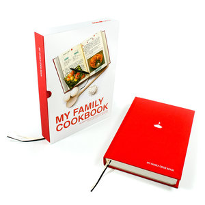 My Family Cookbook. Red hardback notebook with slip case.