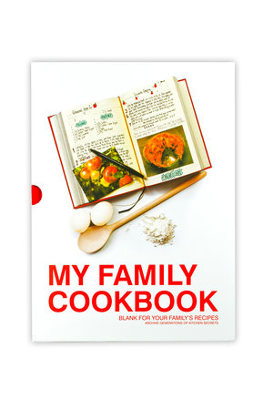 Red My Family Cookbook. Packaged in slip case.