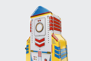 Tin rocket lunchbox in blue red and yellow