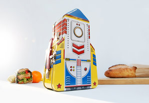 Colourful rocket shaped metal lunchbox for kids