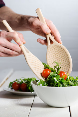 classic tennis racket design salad spoons