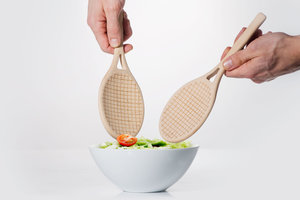 Tennis Racket Shaped Wooden Salad Server Spoons