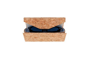 Cork sunglasses case on a white background