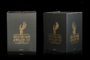 Packaging with gold foil for Skeleton Hand Jewellery Holder