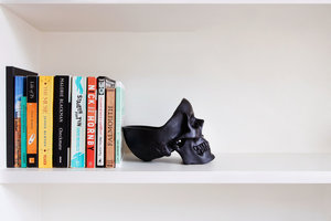 skull bookend for bookshelf