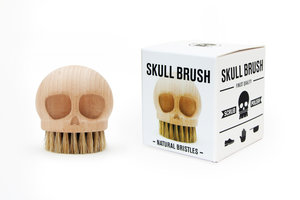 wooden skull brush with packaging