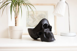 black skull storage on white table