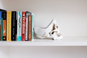 white skull tidy for desk