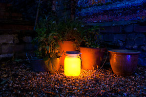 yellow garden lights at night in UK