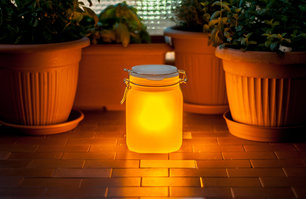 bright sunjar near garden pots