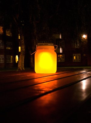 sunjar on table at night