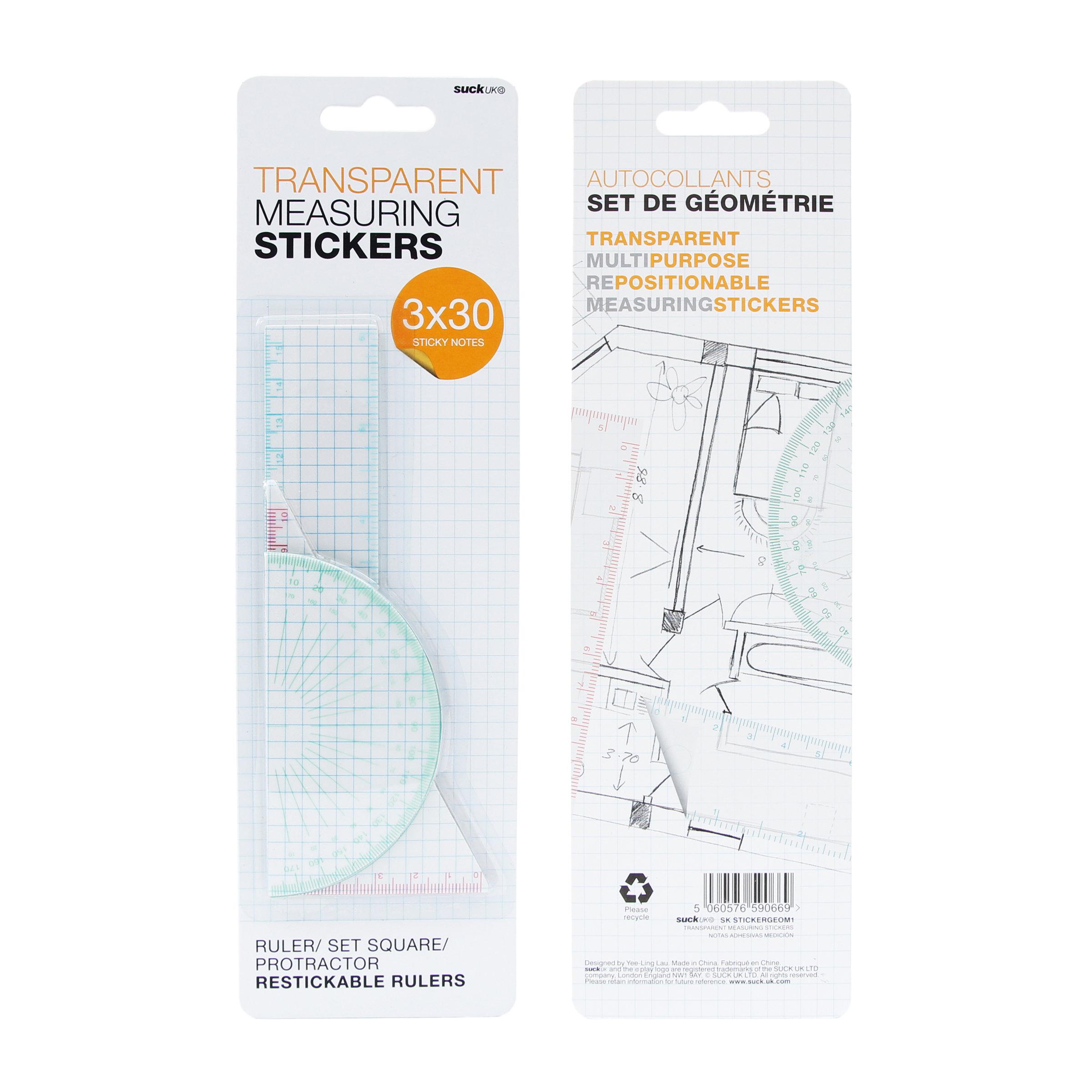 Suck UK Transparent Measuring StickersAdhesive Geometry Set