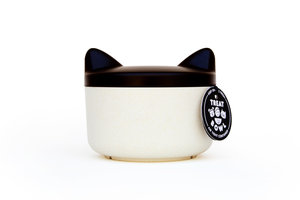 Minimal designer cat head shaped treat bowl and food container