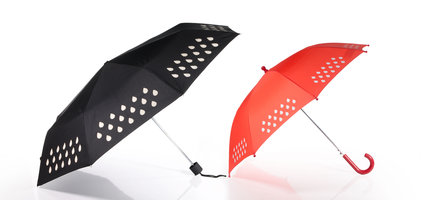 SUCK UK Colour Changing Umbrella available for adults (black fold up design) and kids (red).