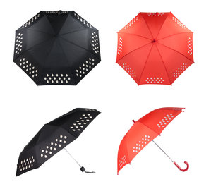 SUCK UK Colour Changing Umbrella for adults (black fold up design) and children (red design).