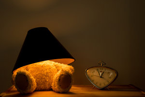 Teddy Lamp Dark and Clock