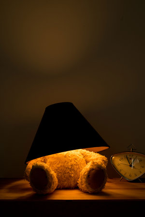 Teddy Lamp Black and Glod shade