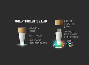 Bottle Light diagram. Turn any bottle into a lamp. Pull off the top to charge. Charges in one hour. Twist to turn on/off and repeat to select the colour.