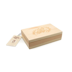 Wooden box and signal blocking bag with tag on white background