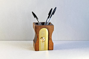 wooden pen pot with pens